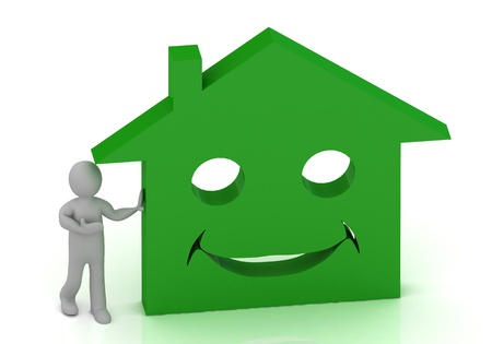 3D Little man invites his smiling green house  Abstract 3D illustration on white background