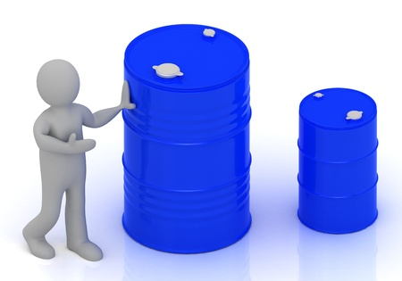 3D little person shows a blue barrel of oil  Abstract illustration on a white background illustration