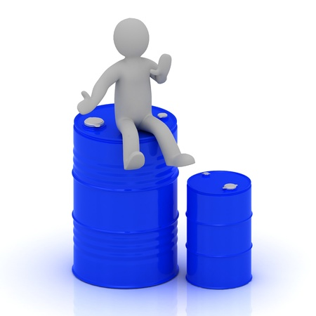 3D small man is sitting on a blue barrel with oil and standing beside a blue barrel less photo