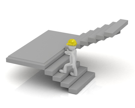 3D little man in a yellow helmet up the stairs and inspect the construction object photo