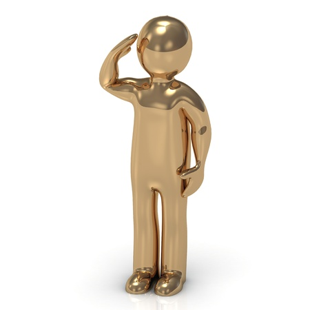 readiness: 3D gold man soldier salutes  Character figurine