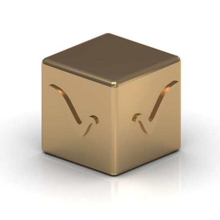 Gold cube engraved with a check mark Stock Photo - 15877987