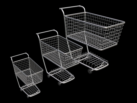 mart: 3 empty supermarket trolley on a black background  Conceptual image Stock Photo