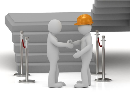 Builder in helmet shaking hands 3d man during delivery built house photo