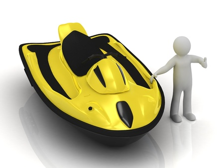 personal watercraft: 3d man and yellow jet ski on a white background  Concept PWC