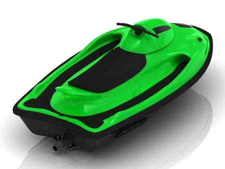 watercraft: Green PWC on a white background  Rear view of watercraft