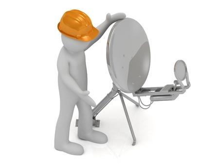 3d man in an orange helmet adjusts the satellite dish on a white background
