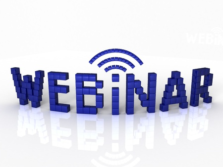 Webinar of the blue cubes on a white background  3D rendering from the same footage photo
