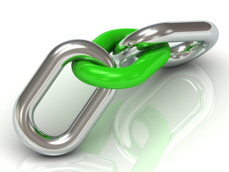chain link: Two units are connected by a steel chain link green plastic on a white background