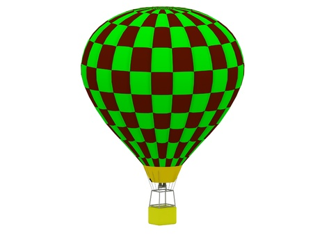 buoyant: Air Balloon in a checkerboard of green and brown isolated on white background