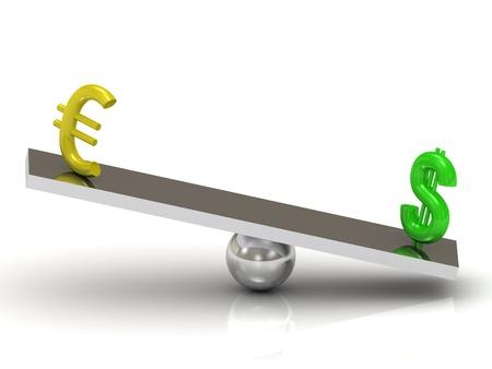 Balance Dollar and the Euro on the rocking polished board photo