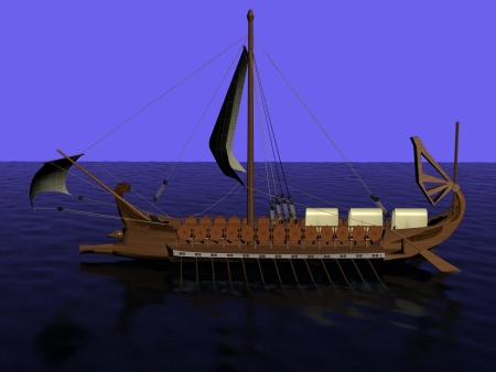 Ancient Greek galley of wood with a sail on the sea before the attack on Troy Stock Photo