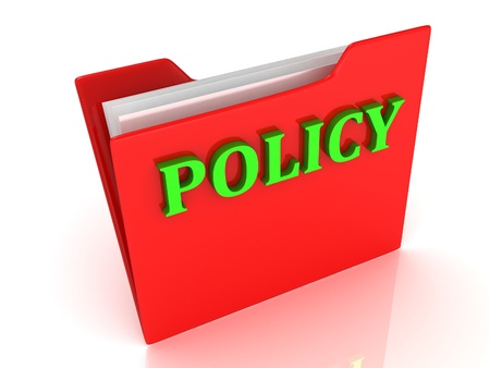 POLICY bright green letters on a red folder on white background