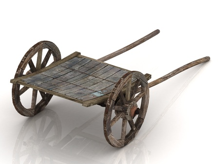 Old wagon cart with wooden wheels isolated on white photo