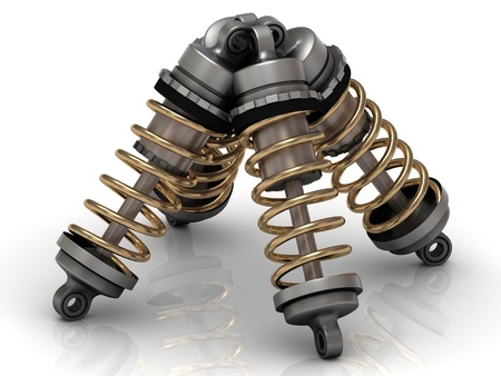 Four automotive shock absorber with gold springs Stock Photo