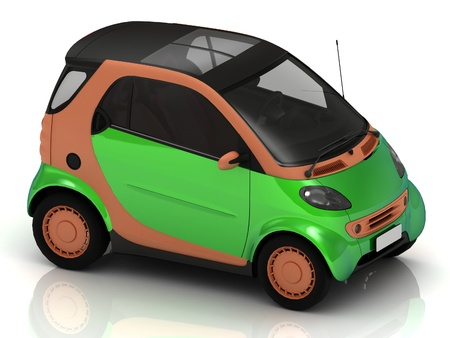 economical: Economical small green car for big cities Stock Photo