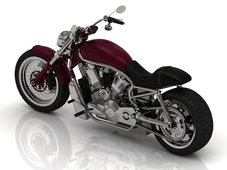 Powerful road motorcycle on a white background photo