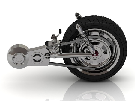 Wheel of motorcycle with chain, pedals, gears and disc photo