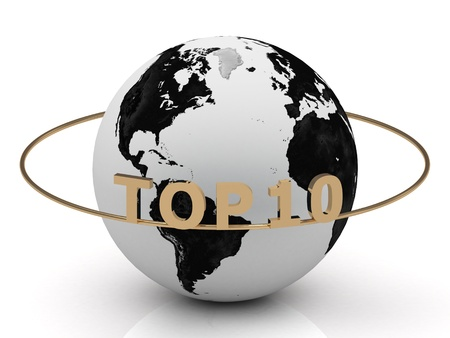 TOP 10 of gold letters on the ring around the earth photo
