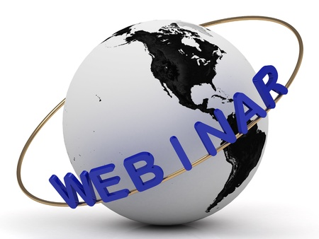 Webinar and gold ring, abstraction of the inscription around the earth Stock Photo