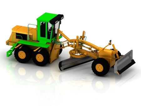 Yellow grader with green cabin on a white background photo
