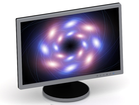 Energy spiral of bright glowing circles on a computer monitor photo