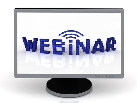 Webinar of blue cubes on a computer monitor Stock Photo