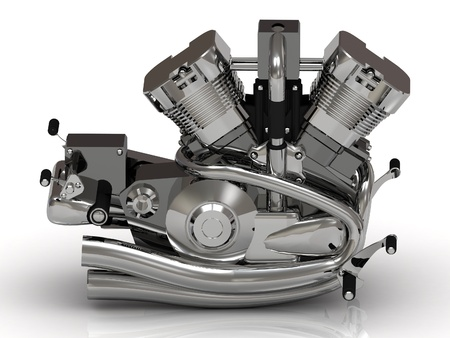 horsepower: Chrome engine with the cylinders, gears, valves, exhaust Stock Photo