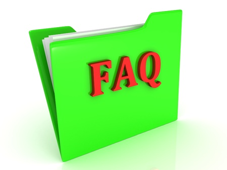 FAQ bright red letters on a green folder with papers  Concept Stock Photo - 18627371