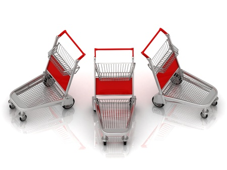 Three carts on wheels for the airport with red backs photo