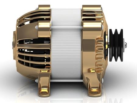 modificaci�n: Generador el�ctrico en caso dorada de edad modificaci�n Foto de archivo