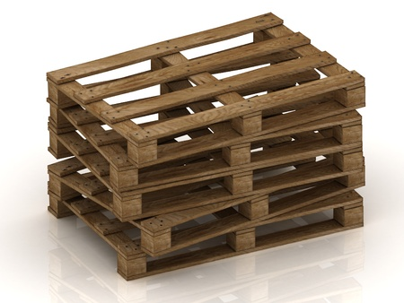 protruding: Wooden pallets stacked pile with protruding nails