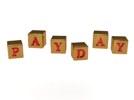 payday: Payday inscription red letters on the golden cubes flying in the air in different directions