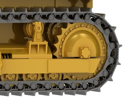Caterpillar track close-up of a yellow bulldozer Stock Photo