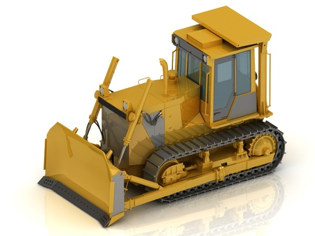 Powerful yellow crawler with a hydraulic shovel photo