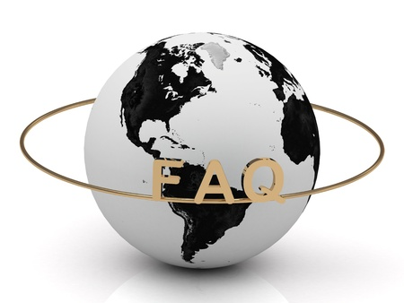 FAQ on a gold ring around the earth. Image from the same footage Stock Photo - 19093069