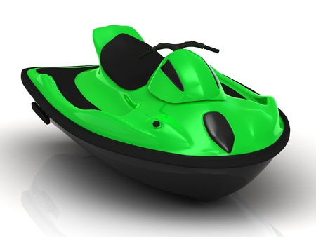 magnificent: Green sports watercraft. Magnificent front view