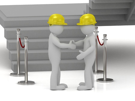 Two 3d man in yellow construction helmets shaking hands next to the fencing posts photo