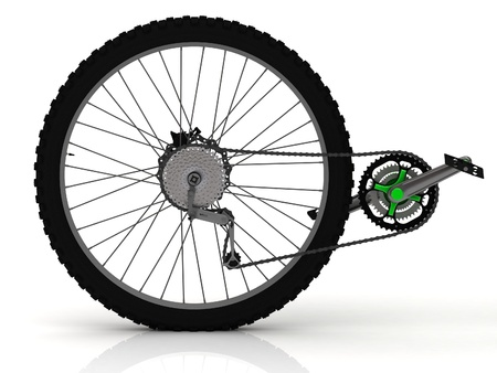 Rear wheel of a sports bike with pedals, chain and transmission photo