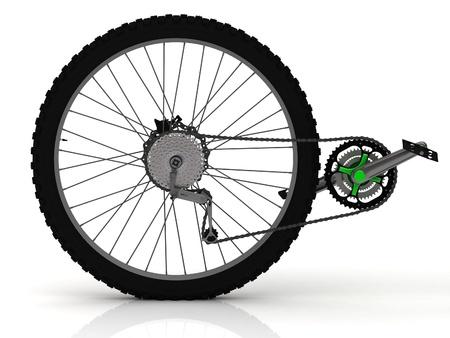 Ruota posteriore di una moto sportiva con pedali, catena e trasmissione