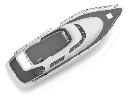 motorised: Motorizado barco de recreo situada en diagonal desde la vista superior