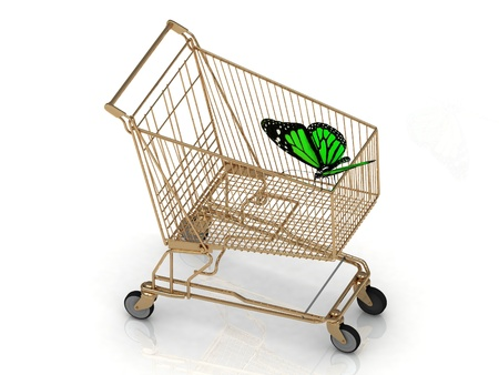 flew: Green butterfly flew to the basket supermarket