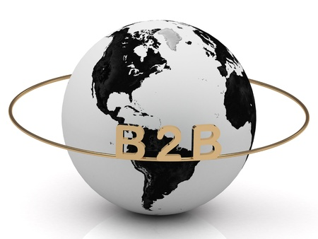 B2B golden letters on a gold ring around the earth