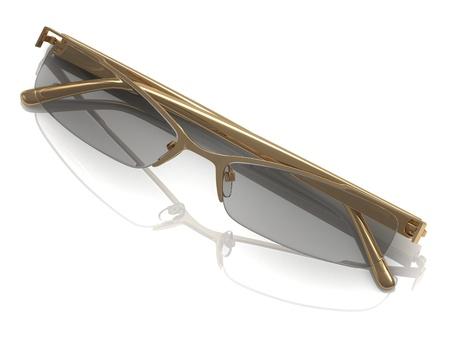 rimmed: Glasses on gold rimmed on a white background