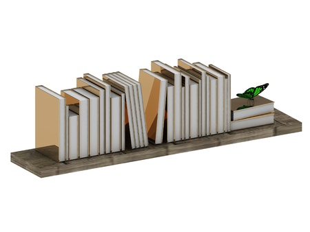 Books in gold cover on a wooden shelf and green butterfly on a white background photo
