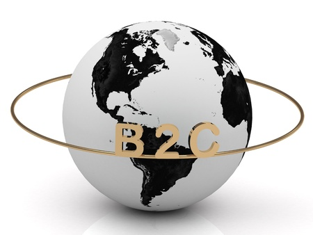 b2c: B2C gold letters on a gold ring around the earth