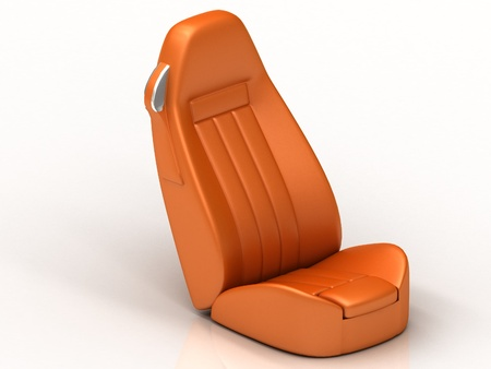 Suite orange car seat from the car to the isolated white background photo