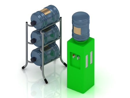 water cooler: Green water cooler and three bottles on a metal rack Stock Photo