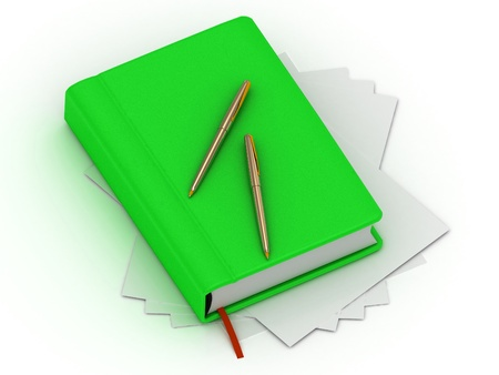 Green organizer and two gold pens lie on white sheets of paper photo