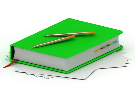 Green notebook and two gold pens lie on white sheets of paper photo